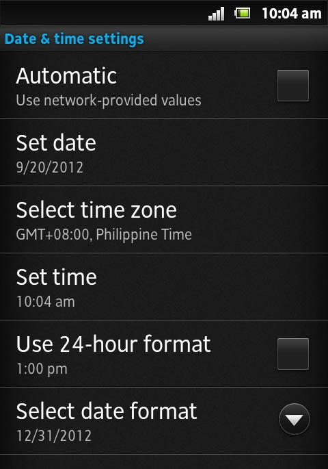 Setting Date and Time on Android Smartphone