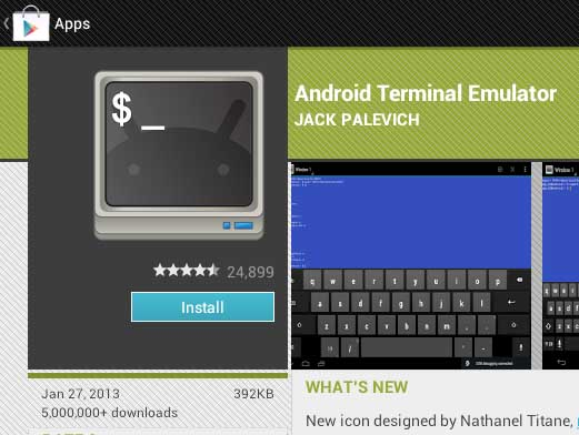 Android Terminal Emulator command line app on Android