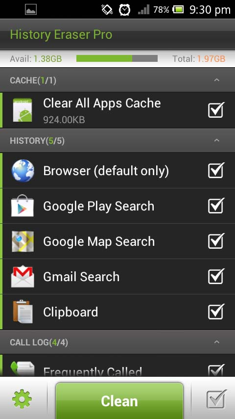 History Eraser Pro, a CCleaner equivalent for Android Devices