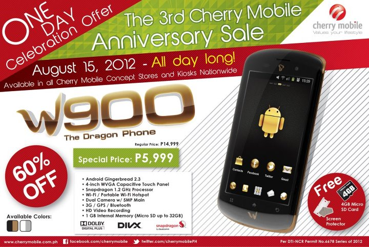 Cherry Mobile One Day Celebration Offer featuring Android Smartphone W900 Dragon Phone for only 5,999 php