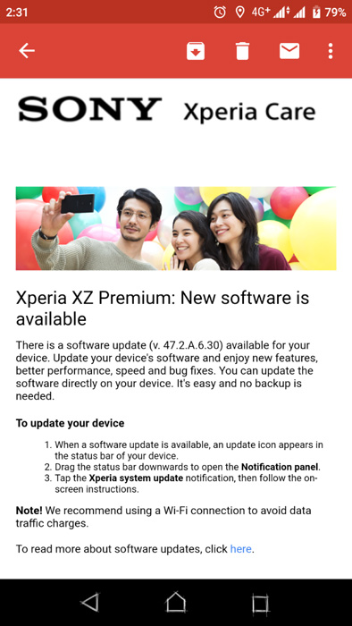 New update for Xperia XZ Premium: 47 2 A 6 30 (as well as XZ1 and