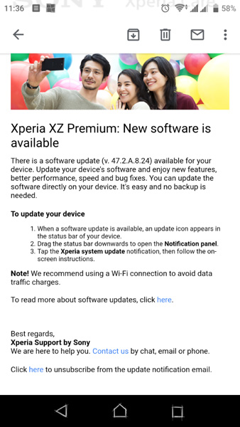 New update for Xperia XZ devices: 47 2 A 8 24 | Jcyberinux