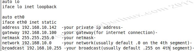 How to configure the IP Address, Gateway, Netmask, Network, Broadcast and DNS on Ubuntu
