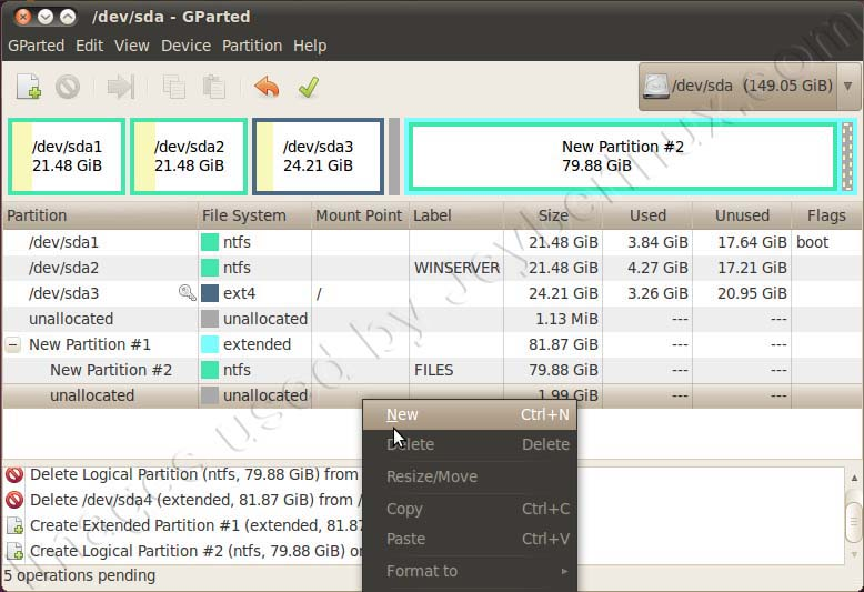 Using GParted Partition Editor to create extended or logical partition in Ubuntu Debian