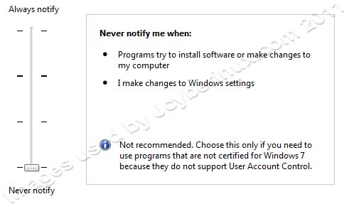 How to Change User Account Control Settings when Notifications appear on Windows 7