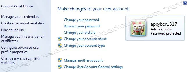 How to Make changes to user account settings in Windows 7