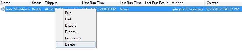 Automatic Shutdown via Scheduled Tasks in Windows 7