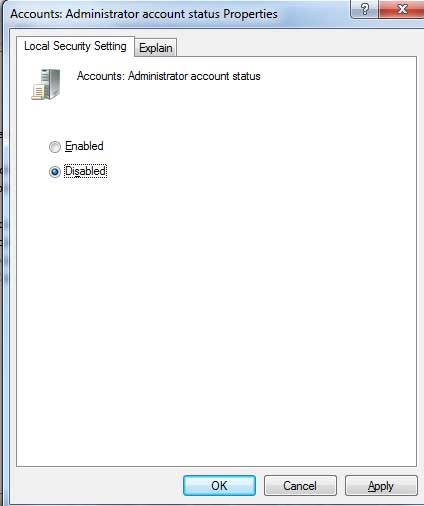 Disable/Hide Administrator Account on Windows 7/Vista Logon