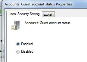 Enable/Unhide Guest Account on Windows 7/Vista Logon