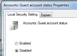 Disable/Hide Guest Account on Windows 7/Vista Logon