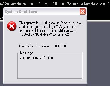 Automatic Shutdown via Command Prompt on Windows XP