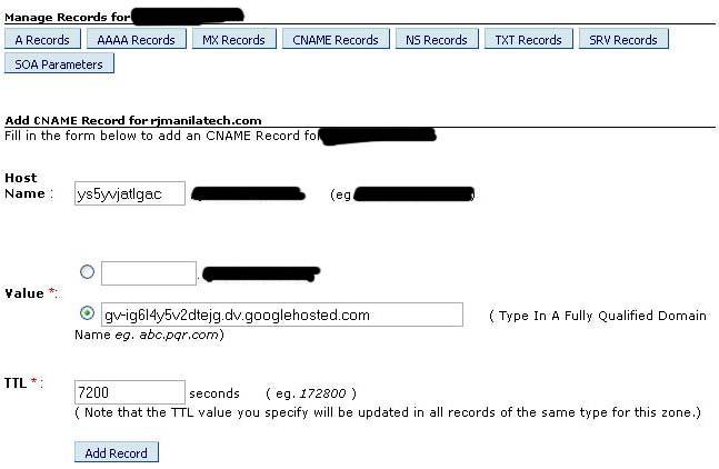 Setup and use custom domain name in Blogger