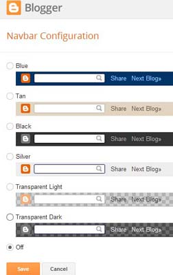 Blogger Navbar Configuration