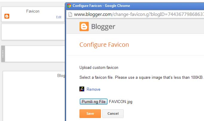 Configure Blogger Favicon