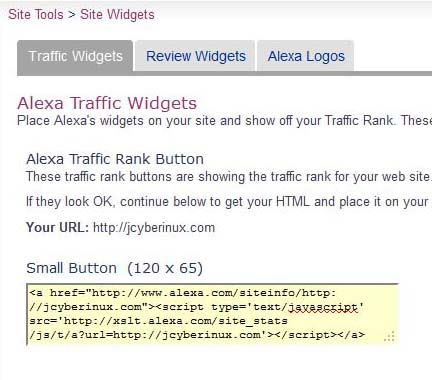 Add Alexa Traffic Widgets in your Website