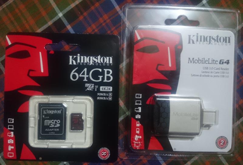 Kingston SDCA3/64GB microSD card and MobileLite G4 Card Reader