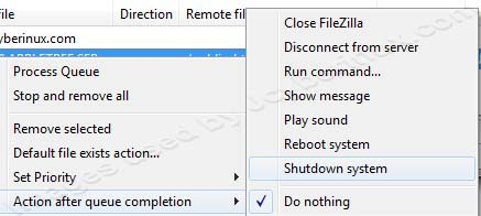 FileZilla Actions After All File Transfers are Complete