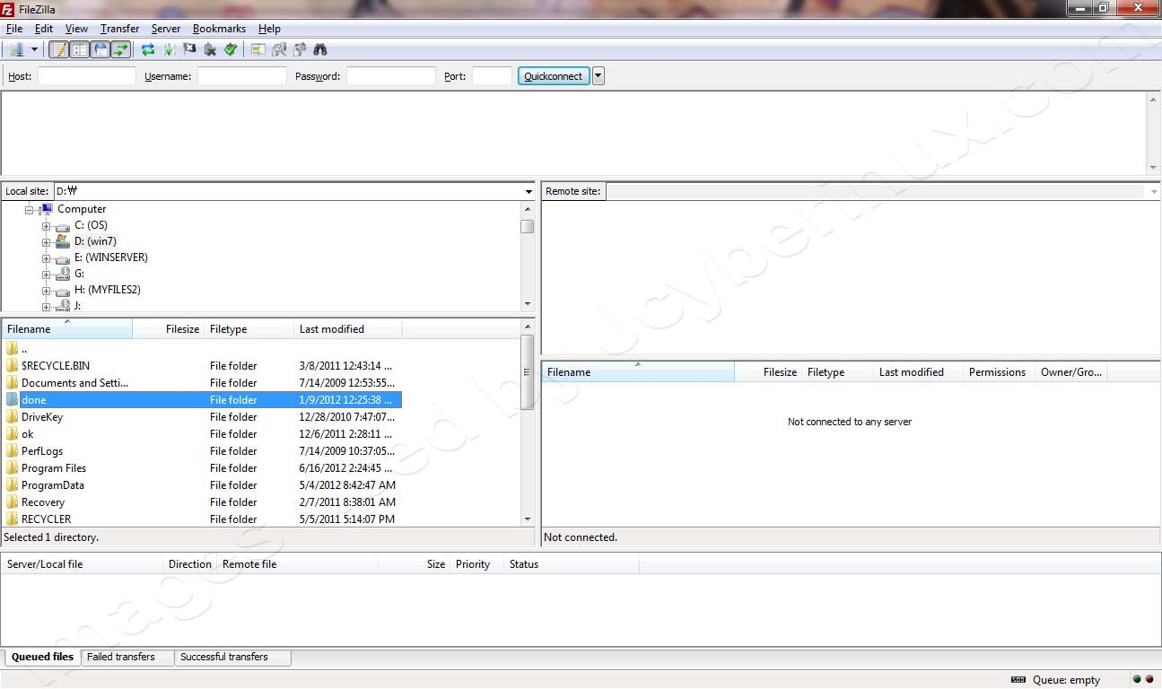 FileZilla Client – Windows 7 - GUI