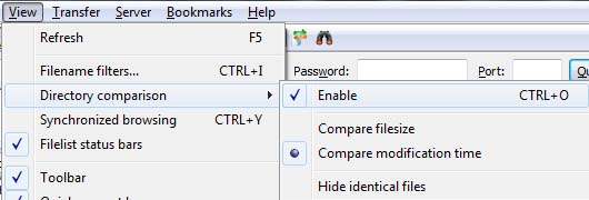 FileZilla Local and Server Directory/Files Comparison