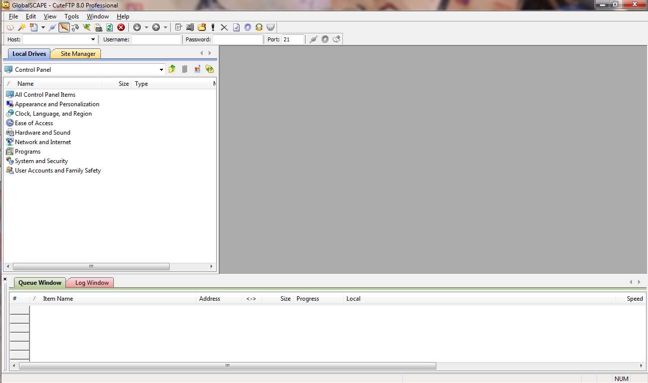 CuteFTP Pro FTP Client – Windows 7 OS - GUI