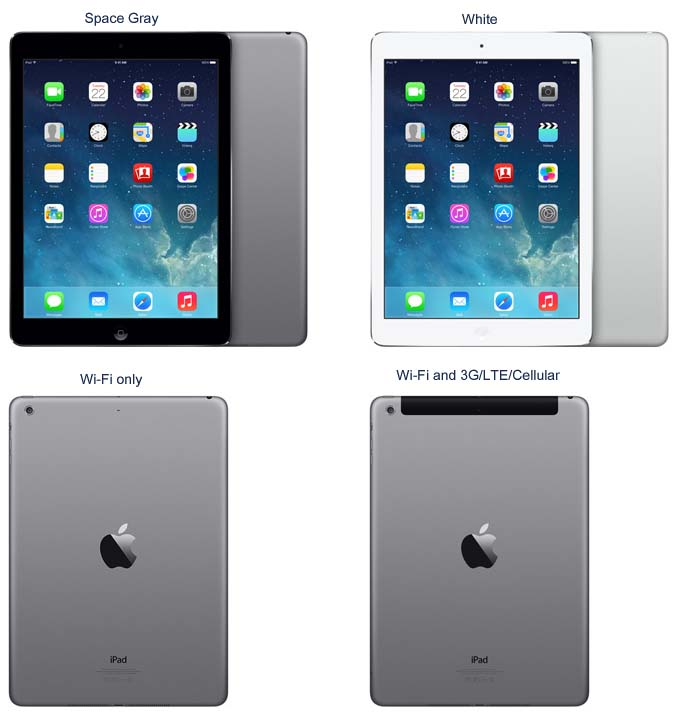 Apple iPad Air Wi-Fi only and Wi-Fi with 3G/LTE/Cellular