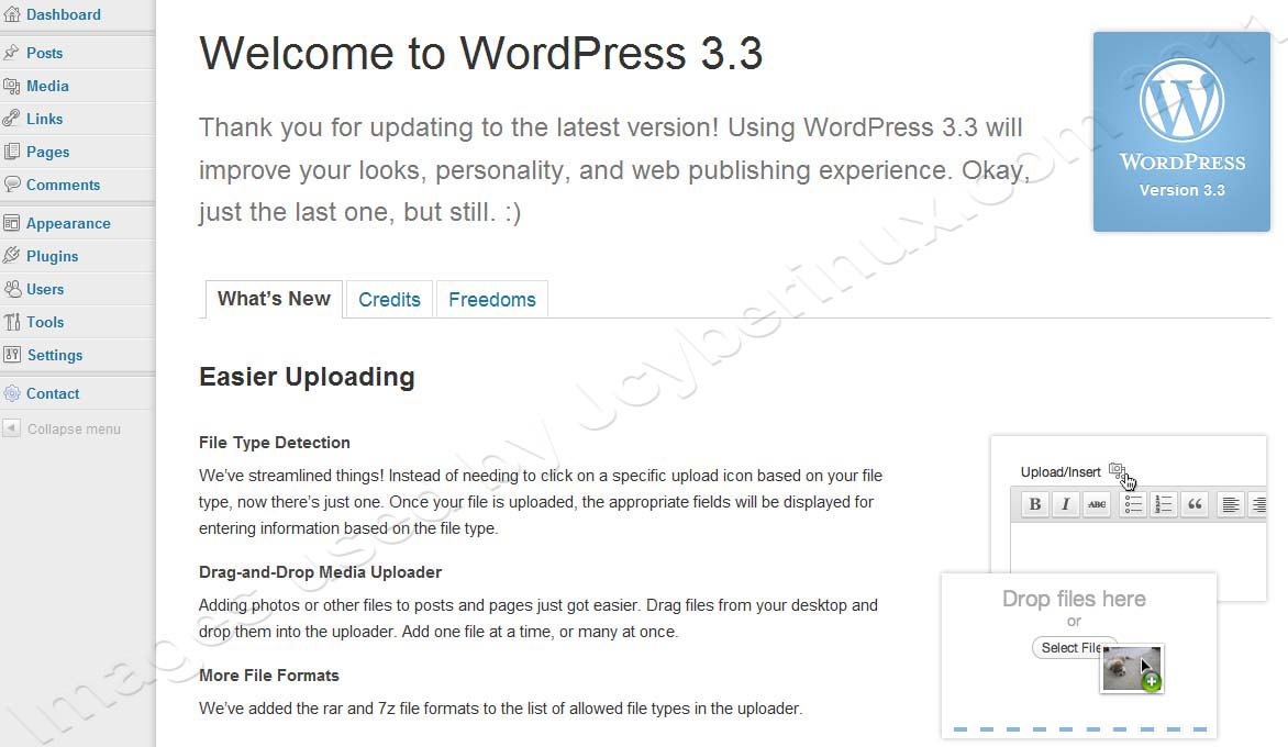 Difference between WordPress 3.2.1 and WordPress 3.3