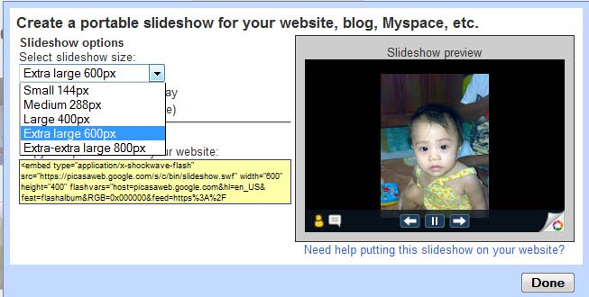How to Embed Web Photo and Video Albums using Picasa Slideshow to any Blog or Website