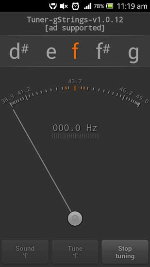 Tuner - gStrings Free Musical Instrument tuner for Android Devices