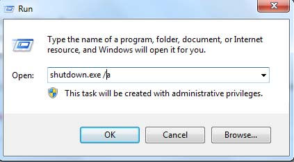 How to abort Windows Automatic Shutdown