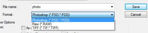 Photoshop cannot save the PSD to JPG or other image file format
