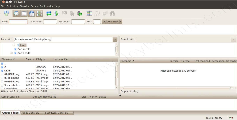 FileZilla Client – Ubuntu 10.04 LTS - GUI