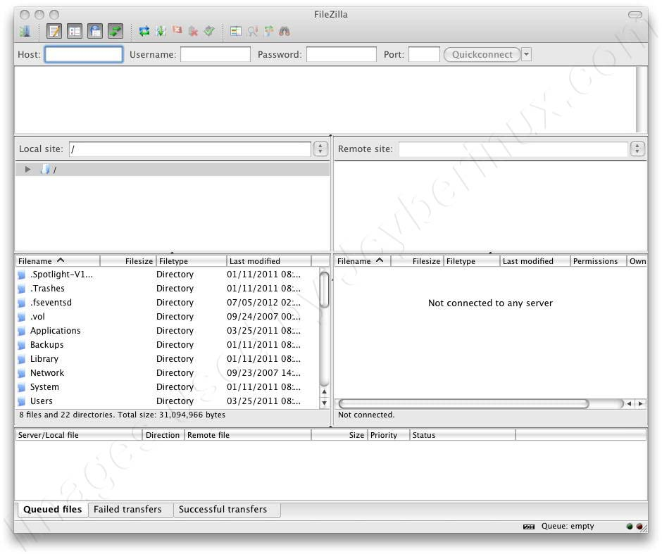 FileZilla Client – MacOS Leopard - GUI