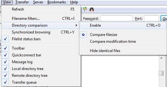 FileZilla Local and Server Directory/Files Comparison